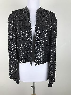 Vintage Lilli Diamond Jacket Black Metallic Sequin Open Front Cropped Blazer M L