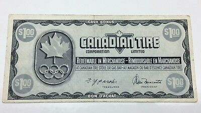 1976 Canadian Tire 1 One Dollar CTC-S5-F Circulated Olympic Money Banknote E053