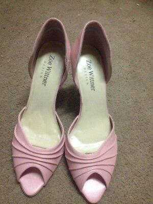 Zoe Wittner Pink Leather Peep Toe Heels, Size 39