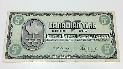 1976 Canadian Tire 5 Five Cents CTC-S5-B Circulated Olympic Money Banknote E057