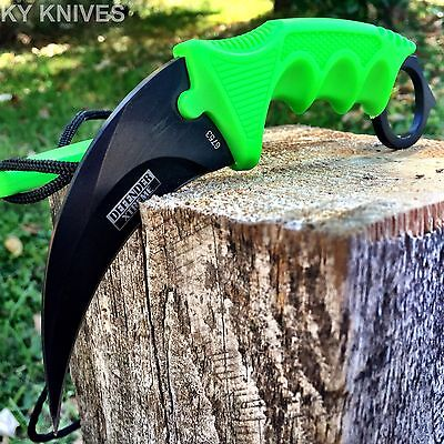 TACTICAL COMBAT KARAMBIT  KNIFE Survival Hunting BOWIE Fixed Blade & SHEATH -E