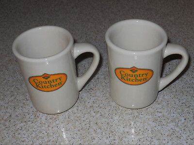 Lot of 2 Advertising Country Kitchen Buffalo Pottery Coffee Mugs Cups