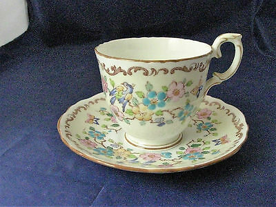 Tea Cup and Saucer - Vintage Crown Staffordshire - Fine Bone China - England