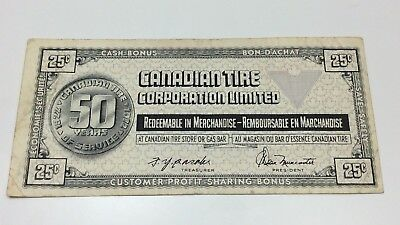 1972 Canadian Tire 25 Cents CTC-S2D Circulated Money 50 Years Banknote E065