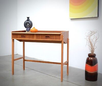 1960s Danish Modern Teak Entry Drawer Console Table Vintage Mid Century Vanity