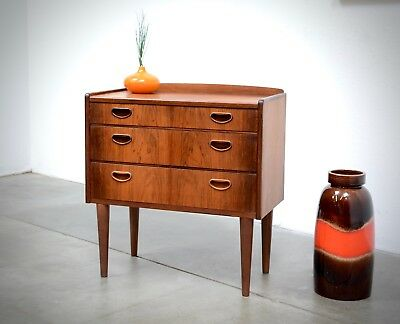 1950s Danish Modern Rosewood Small Scale Chest Drawers Entry Table Mid Century