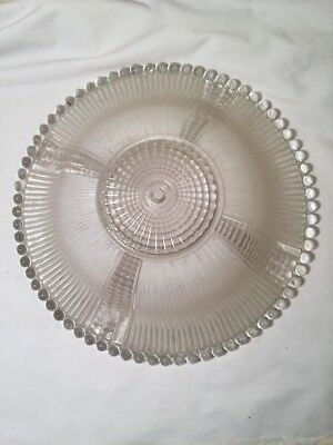 Vintage Art Deco Frosted Glass Beaded Ceiling Light Fixture Shade