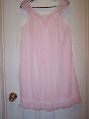 Vintage Pink Nylon Overlay Nightgown Size M - Perfect Gift Daughter Or Son