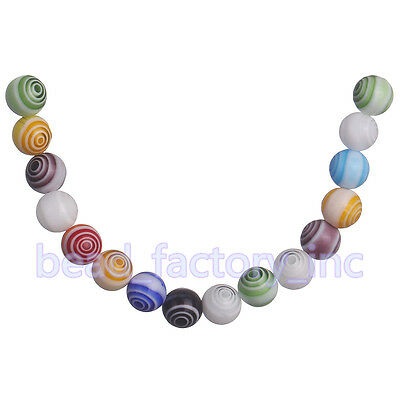 50Pcs Charms Glass Round Multi-Color Flower Millefiori Loose Spacer Beads 6mm