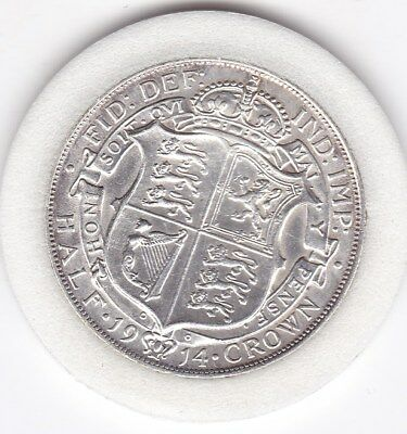 High Grade  1914  King  George V  Half  Crown  (2/6d) -  Silver  (92.5%)  Coin