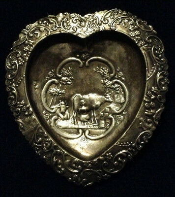 Rare Heart Maiden .950 Sterling 19 C French Figural Footed Tray Dish Hi~End