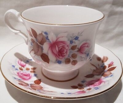 Vintage Queen Anne Bone China Cup and Saucer Floral Pattern 8521 c1977