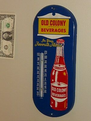 Antqe/Vtg Thermometer Sign,OLD COLONY BEVERAGES,Soda,RARE,USA,1950s,Org,NearMint