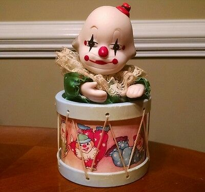 Vintage Porcelain Clown in Drum Music Box
