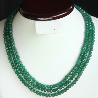 Outstanding Top Faceted 376.00 Cts Natural 3 Strand Green Emerald Beads Necklace