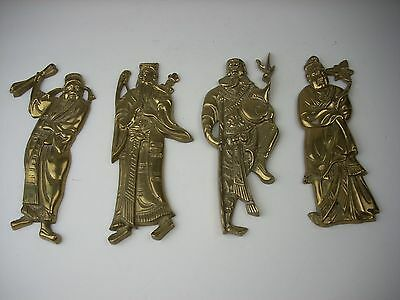 4 Vintage Solid Brass Wall Hanging Plaques Chinese Warrior Figures Rare Taiwan