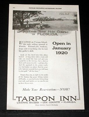 1920 Old Magazine Print Ad, Tarpon Inn, Sportiest Nine Hole Course In Florida!