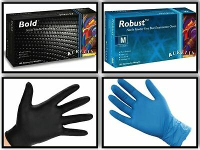 1-4 Cases - (10-40 Boxes) QUALITY Aurelia Black or Blue Nitrile Gloves 4.5 / 5ml