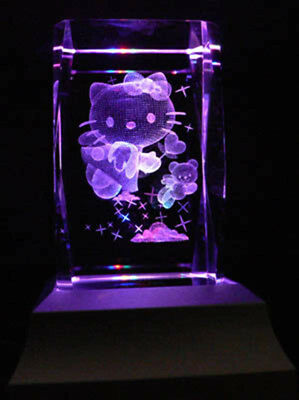 Hello Kitty Collectable Laser Inscribed Crystal LED Night Light Gift CAR13