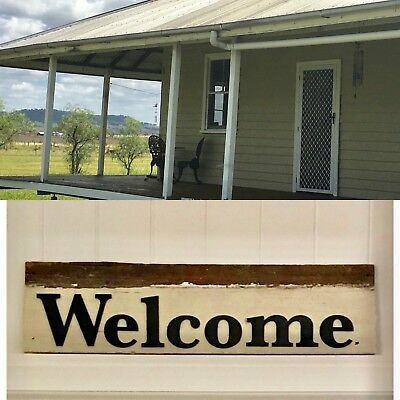 Welcome Wooden Timber Hanging Sign Rustic Vintage Country Unique One Only