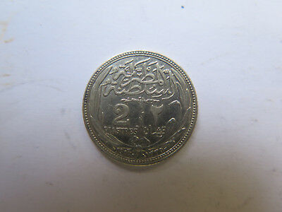 1917 EGYPT 2 PIASTRES SILVER COIN in EXCELLENT CONDITION BROUGHT HOME FROM W W I