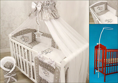 LUXURY 14 pcs BABY BEDDING SET/BUMPER/DRAPE/HOLDER to fit Cot or Cot Bed COTTON!