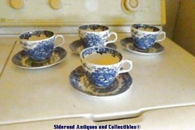 4 Sets Olde Staffordshire English Village Cup/Saucer Salem China England Blue