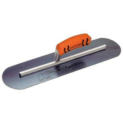 "Kraft 14"" x 4"" Blue Steel Pool Trowel with a ProForm® Handle on a Long Shank"