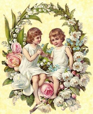 Large Victorian Scrap, Flower Girls, Approx 23 X 19 Cm