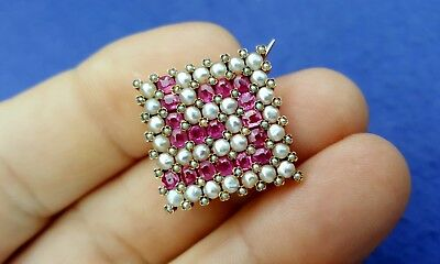 Old Vtg Estate Jewelry Fine Antique 14K Gold Pink Sapphire Seed Pearl Brooch Pin