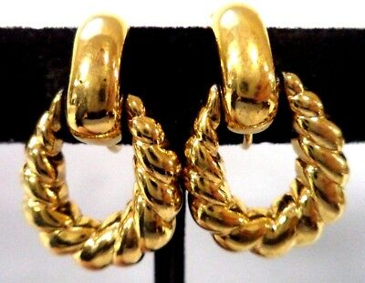 "Stunning Vintage Estate Signed Napier Gold Tone 1 3/8"" Clip Earrings!! 8585V"