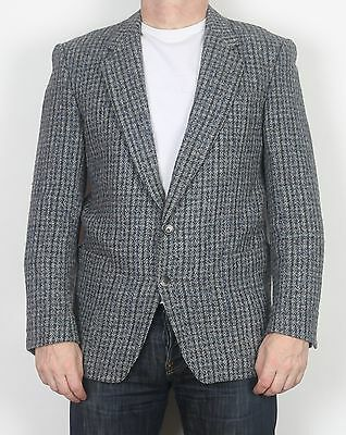 "Harris Tweed 38-39"" Small Jacket Blazer Grey 1970/80's  (65A)"
