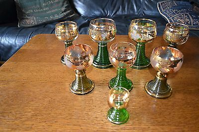 8 German Green And Gold Etched Glass Wine Goblets various designs & sizes
