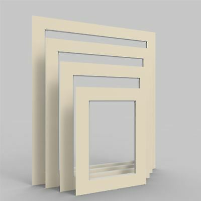 Ivory Picture Photo Frame Mounts Bevel Cut Mount pack of 4, 8, 12 and 24