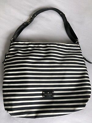 Kate Spade Large Baby Diaper Bag Black/white Stripe With Extras