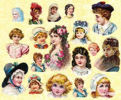 Victorian Scraps, Mixed Heads, Largest Approx 7 X 4 Cm