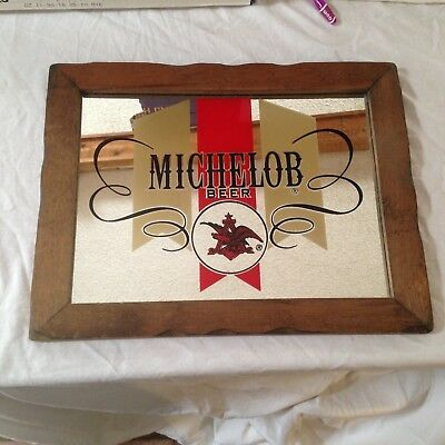 "Bar Sign With Wood Frame Michelob Beer Anheuser Busch Mirror 19"" X 15"""