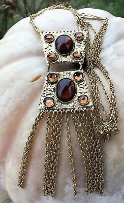Necklace Gold Chunky Dangly Chains Topaz Cabochons Mother's Day Gift