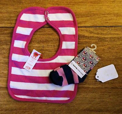 KATVIG Baby Girl Socks and Bib Bundle, Pink Stripe, 3-6m BNWT NEW