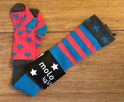 MOLO Coral, Turquoise, Grey Star Stripe Tights 74/80, 9-12 months NEW