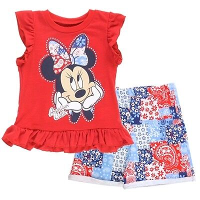Disney Little Girls Red Minnie Mouse Floral Paisley 2 Pc Shorts Set 4T