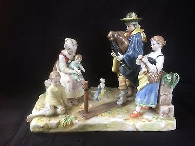 Antique German Porcelain . Beautiful medieval scene traveling theatre . Marked