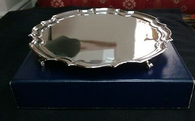 Circa 1959 Silver Plate Tray with Gadrooned edges diameter 10""