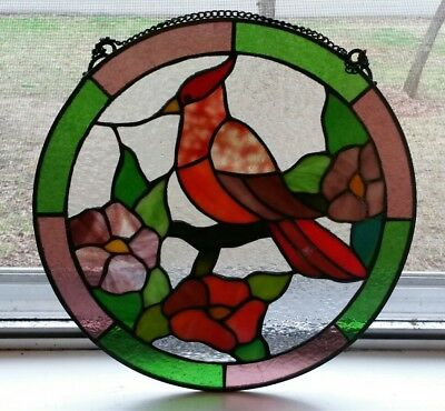 """Large Vintage Round Stained Glass Cardinal Red Bird Panel 12"""""""