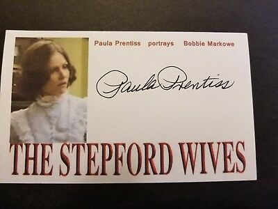 """The Stepford Wives"" Paula Prentiss Bobbie Markowe"" Autographed 3x5 Index Card"
