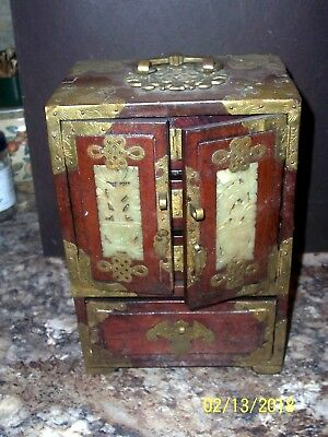"Antique Chinese Wood And Brass Jewelry Box/chest 10"" Tall W/ Carved Jade Inserts"