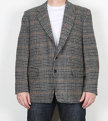 "Harris Tweed 44"" Large XL Jacket Blazer Grey Blue (F3O)"
