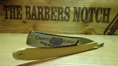 "13/16"" CROWN & CASTLE GERMAN MADE RAZOR vintage antique shaving/cut throat"