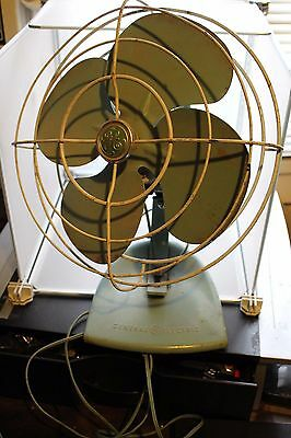 Vintage Rare General Electric Fan Off Green Works!