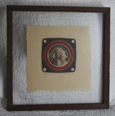 Framed Native American Signed Art--Chief Many Ponies, Embossed Western Art